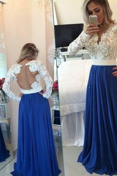 New Arrival Luxury blue Prom Dress,Long Prom Dresses,lace Evening Dress,blue Evening Gown