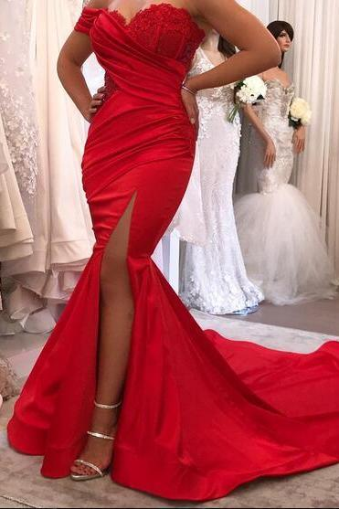 Red Mermaid Satin Prom Dresses,Off the Shoulder Lace Prom Dress,Bodice Side Slit Evening Dress, Formal Gowns Vestidos