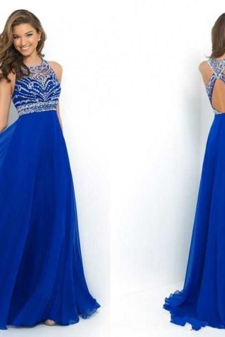 Elegant Royal Blue Chiffon A-Line Prom Dress 2019 Halter Bandage Backless Sparkly Beading Long Prom Dress New